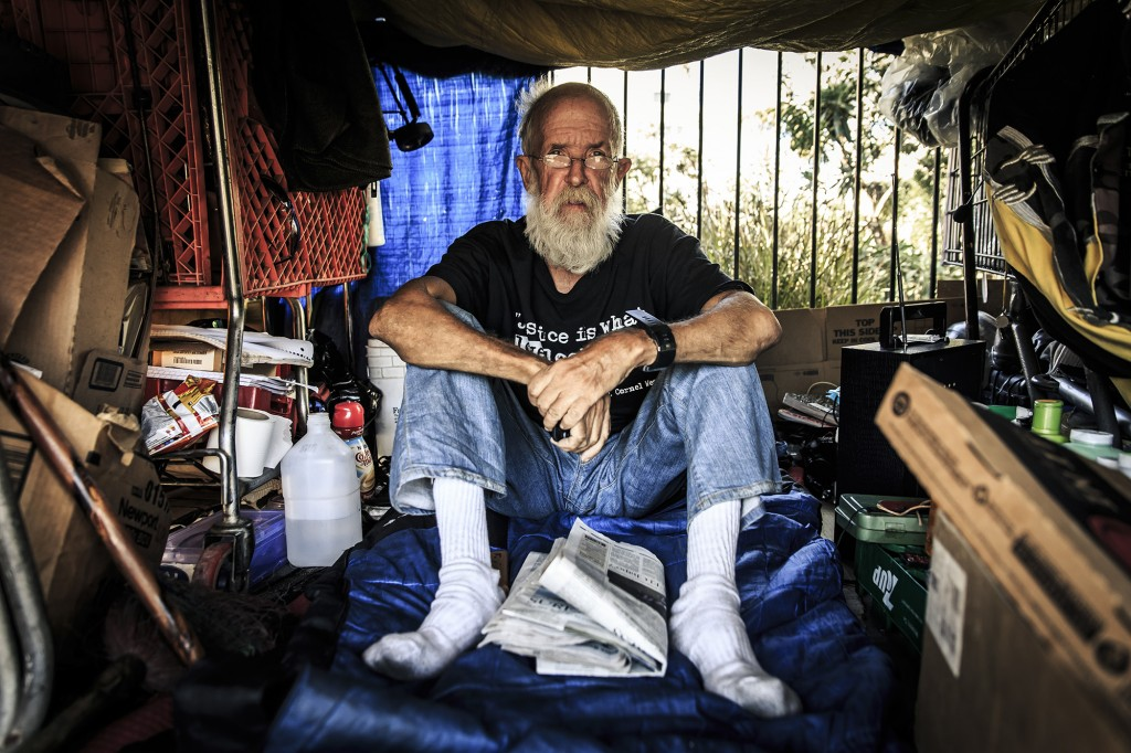 "Roy Evensen, also known as ""Cowboy"" is 66 years old and was born and raised in Brooklyn, New York. He's been living in Skid Row for 6 years. After being an army sniper during the Vietnam war and a soldier during the 70's, he had difficulties adjusting to normal every day life. He says, ""I got out of the Army just about 1980. I had enough. I couldn't take it no more. I had a  feeling my number was gonna come up if I go to Iraq or whatever. Things were going up and down for me. I couldn't adjust right. If I hear something or dropping something, I hid in the pavement, looking around you know. We didn't have PSTD. They called it combat fatigue, the willy nillys, or whatever. The doctors would give Valium. I didn't want to get hooked up on that stuff. So I started drinking beer and it made me more relaxed"""