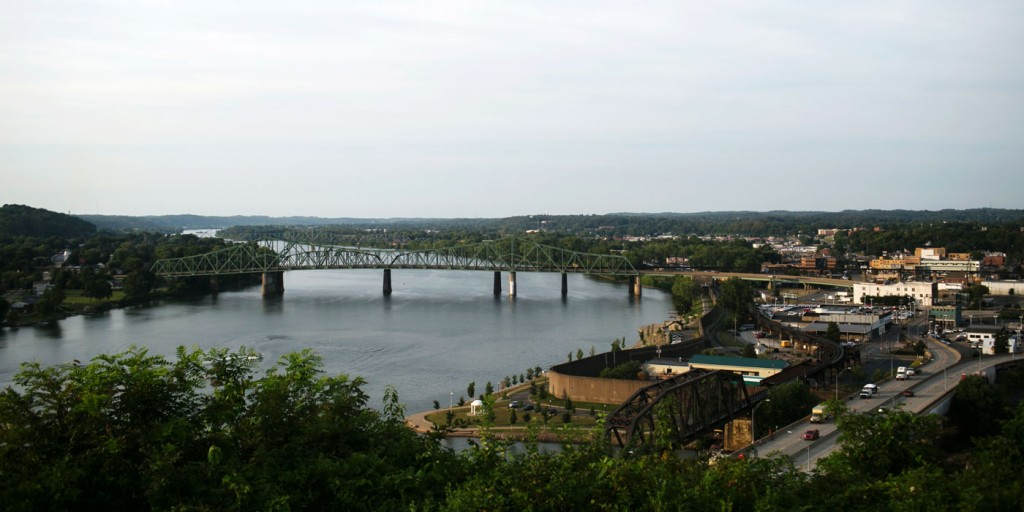 A view of Parkersburg, WV and the Ohio River from Fort Boreman Park on Wednesday, August 5, 2015.