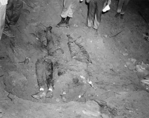 PHILADELPHIA, MS - 1964:  In this picture relaesed by the FBI and the State of Mississippi Attorney General's Office, the bodies of slain civil rights workers James Chaney, Andrew Goodman and Mickey Schwerner lie in an earthen dam June, 1964 just southwest of Philadelphia, Mississippi. The photograph was presented into evidence during the trial of Edgar Ray Killen, who is charged with the 1964 deaths of three civil rights workers June 17, 2005, in Philadelphia, Mississippi.  (Photo by FBI/State of Mississippi Attorney General's Office via Getty Images)