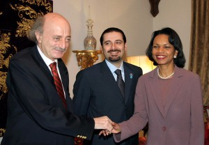 Beirut, LEBANON:  Lebanese parliament majority leader Saad Hariri (C) smiles as MP and Druze leader Walid Jumblatt greets US Secretary of State Condoleezza Rice during their meeting in Beirut, 23 February 2006. Rice made an unannounced visit to Lebanon, keeping up US pressure on Syria and pointedly avoiding any encounter with the pro-Damascus President Emile Lahoud.  AFP PHOTO/MAHMOUD KHEIR  (Photo credit should read mahmoud kheir/AFP/Getty Images)