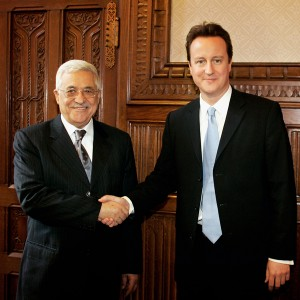 LONDON - FEBRUARY 22:  Leader of the Conservative Party, David Cameron shakes hands with Palestinian President Mahmoud Abbas in the shadow cabinet rooms of the Houses of Parliament on February 22, 2007 in London.  Abbas has already met witrh British Prime Minister Tony Blair for discussions over the progress of the NUG (national unity government). (Photo by Bruno Vincent/Getty Images) *** Local Caption *** David Cameron; Mahmoud Abbas