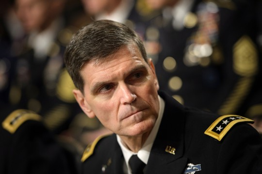 Army General Joseph Votel (R), commander of the US Special Operations Command, waits for a hearing of the Senate Armed Services Committee on March 8, 2016 in Washington, DC.The Senate Armed Services Committee hears testimony from the head of the US military effort against the Islamic State group in Iraq and Syria, as well as generals in charge of Africa and the Special Forces. / AFP / Brendan Smialowski (Photo credit should read BRENDAN SMIALOWSKI/AFP/Getty Images)