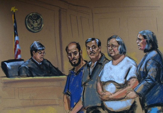 Ahmed Abdel Sattar, second left, Mohammed Yousry, center, lawyer Lynne Stewart, second right, and Stewart's attorney Susan V. Tipograph, right, appear before Judge John Koeltl, left, at the United States Courthouse in New York, in this courtroom art, Tuesday, April 9, 2002. Sattar, Yousry, and Stewart were indicted Tuesday on charges they helped an Islamic militant imprisoned in the United States communicate with his followers in Egypt. (AP Photo/John-Marshall Mantel)