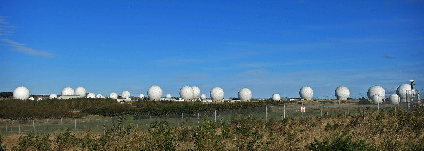 The radar domes of RAF Menwith Hill in north Yorkshire dominate the skyline on 30 October, 2007, Harrogate, England.