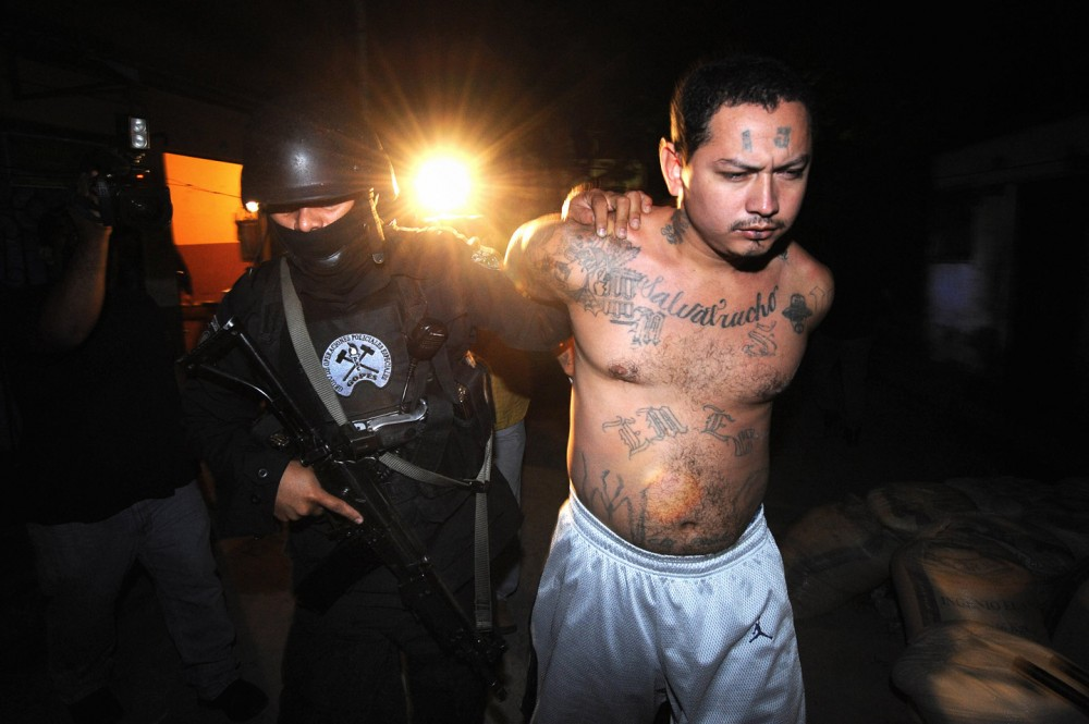 A member of the National Civil Police elite forces secures an alleged member of the MS-13 gang during a raid in the San Rafael community, in Santa Tecla, 12km east from San Salvador, early in the morning on January 31st, 2008. Up to now and according to official sources, 70 people -alleged members of the MS-13 gang- were arrested during the joint operation of the police and the Attorney General's office.  AFP PHOTO/Jose CABEZAS (Photo credit should read Jose CABEZAS/AFP/Getty Images)