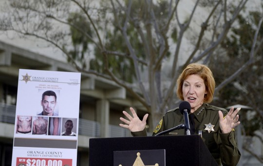Orange County Sheriff Sandra Hutchens during a press conference, Jan. 27, 2016 - Santa Ana, Cali.
