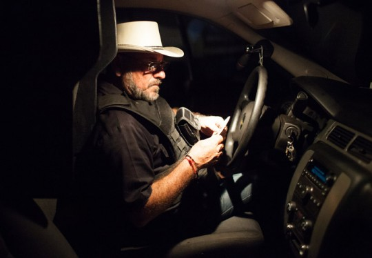 "Hipolito Mora in his bullet proof truck on his families lime ranch in La Ruana, Michoacán, Mexico, Tuesday, December 15, 2015. Hipolito Mora was one of the original founder of the autodefensa movement, which saw vigilantes spread across the state of Michoacán and drive out the cartel group the 'Knights of Templar'. Since the uprising began in 2013, other criminal groups have filled the space of the previous cartel and many look at the autodefensa movement as a failure. Mora has had many challenges over the last three years, including being sent to jail twice and having his son killed in a shootout Dec. 16, 2014 during a shootout with a rival group. This ranch is a very important place for Mora. ""This is where I expect to die"" said Mora, motioning to the hills surrounding the ranch, which would make for a great spot for a shooter to hide. ""My son and I had plans to build up the house and make this out place, it was out dream, but that was before.""(Brett Gundlock/Boreal Collective)"
