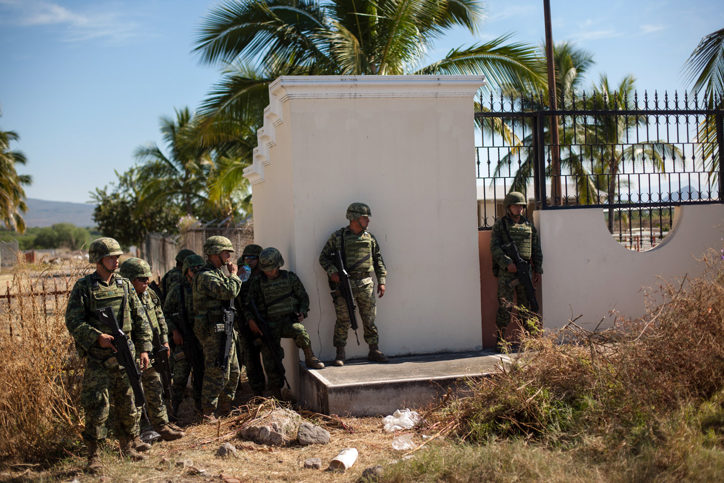 Mexican Army guard a ranch of Hipolito Mora, in La Ruana, Michoacán, Mexico, December 17, 2014.<br /> This was the site of a confrontation between two rival vignette groups, including one led by Mora. The conflict left eleven people dead.
