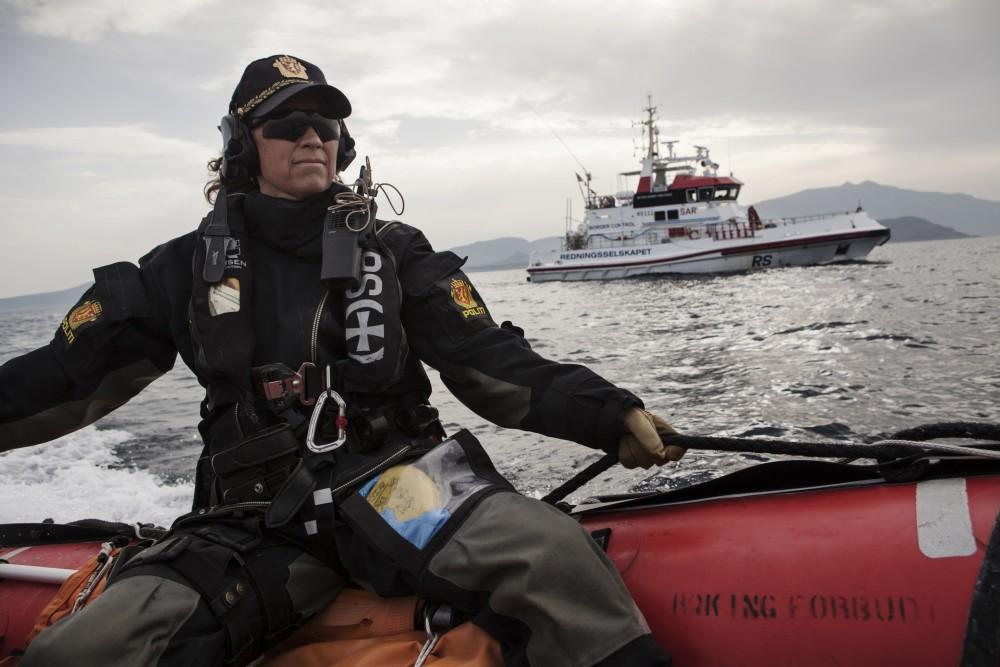 AT SEA - FEBRUARY 29: Norwegian Redningsselskapet rescue boat