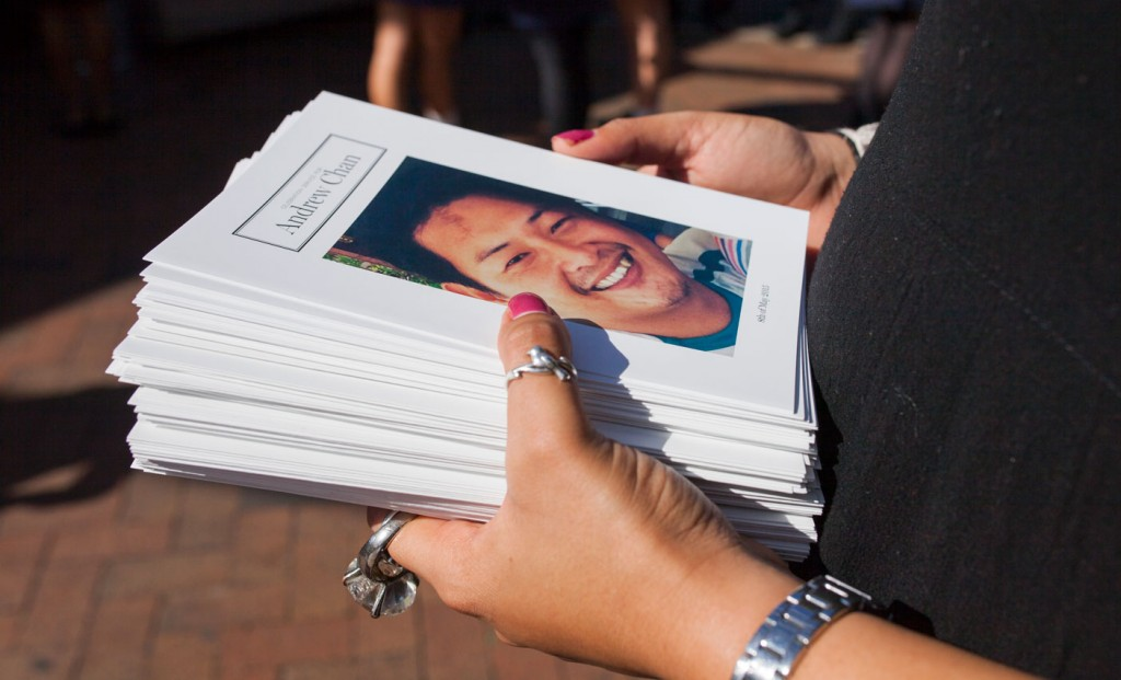 SYDNEY, AUSTRALIA - MAY 08:  In this handout image provided by Hillsong Church, an Order of Service Booklet is seen with a photo of Andrew Chan on the cover during his funeral service at Hillsong Church, Baulkham Hills on May 8, 2015 in Sydney, Australia. Bali Nine duo Andrew Chan, 31, and Myuran Sukumaran, 34, were executed by firing squad after being found guilty of attempting to smuggle 8.3kg of heroin valued at around $4 million from Indonesia to Australia along with 7 other accomplices. Sukumaran's funeral service will be held tomorrow at the DaySpring Church in Castle Hill.  (Photo by Hillsong Church via Getty Images)