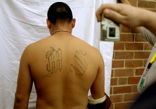 LANGLEY PARK, MD - APRIL 20:  (NEWSWEEK AND US NEWS AND WORLD REPORT OUT)  Armed police from Maryland's Prince George's County Anti-Gang Unit question and detain suspected gang members of Mara Salvatrucha 13, or MS-13, April 20, 2006 in Langley Park, Maryland. A confirmed gang member's tattoos were photographed for the police data base. The gang member had an outstanding warrant out for a charge he failed to appear in court  for and was taken into police custody. Langley Park is a Washington, D.C. suburb known for its large Hispanic population with a well entrenched presence of MS-13. MS-13 was originally formed in South Los Angeles in the early 1980's following a mass exodus from El Salvador of families fleeing the country's violent civil war between leftist guerillas and a right wing U.S. supported government. MS-13 formed for neighborhood protection after Salvadorean immigrants were continually preyed upon in Los Angeles by well organized Mexican street gangs. There are an estimated 10,000 MS-13 members now in the U.S. in approximately 33 states. MS-13 is involved with drug smuggling, extortion and prostitution. Gang members not born in the U.S. are deported back to Central America if they commit a felony or deportable offence. The policy of deporting criminals has come under political attack for serving only as a short term solution to a failed immigration policy. (Photo by Robert Nickelsberg/Getty Images)