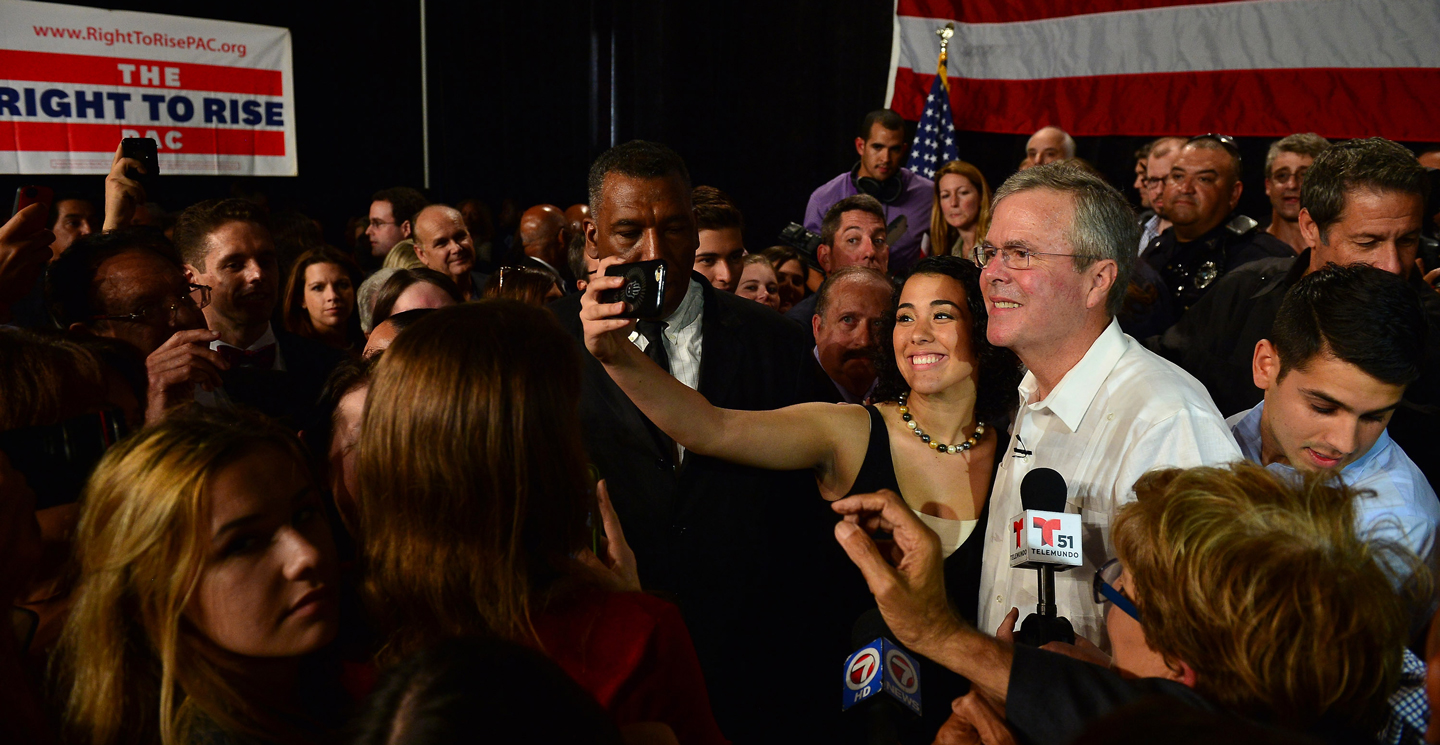 SWEETWATER, FL - MAY 18: Former Florida Governor and potential Republican presidential candidate Jeb Bush greets people as he attends a fundraising event at the Jorge Mas Canosa Youth Center on March 18, 2015 in Sweetwater, Florida. Mr. Bush is thought to be seeking to run for the Republican nomination but he has yet to formally announce his intentions. (Photo by Johnny Louis/FilmMagic)