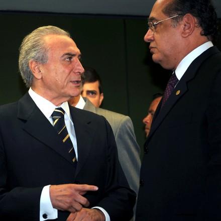 O presidente da Câmara, Michel Temer, reune-se com o presidente do Supremo Tribunal Federal (STF), ministro Gilmar Mendes, que falou sobre projetos para aumentar a eficincia da justia criminal.