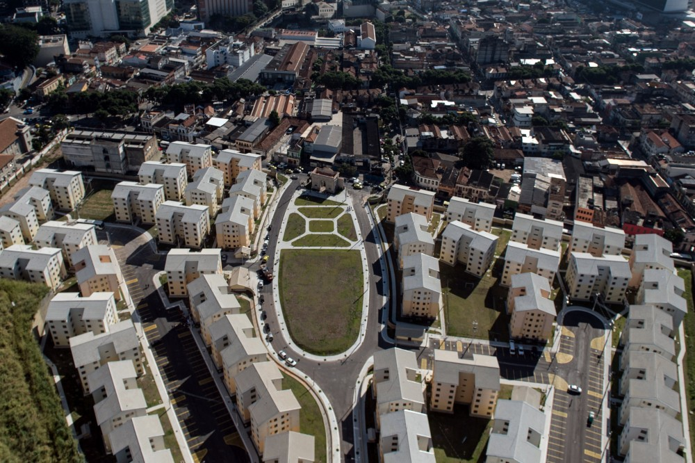 Aerial view of the apartments of the Government social project Minha Casa Minha Vida in Rio de Janeiro, Brazil, on June 28, 2014. AFP PHOTO / YASUYOSHI CHIBA        (Photo credit should read YASUYOSHI CHIBA/AFP/Getty Images)