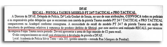 Recorte do Boletim do Sindicato dos Policiais Civis do Rio de Janeiro