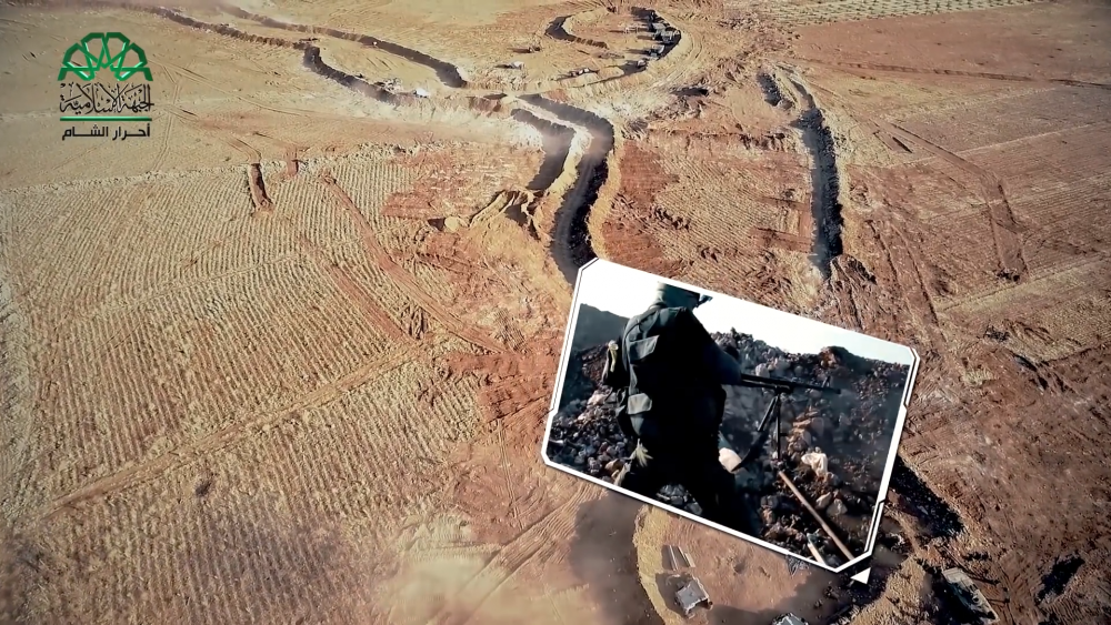 Overhead shot of battlefield with video insets.