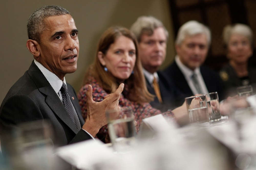WASHINGTON, DC - MARCH 27:  U.S. President Barack Obama meets with members of the President's Council of Advisors on Science and Technology at the White House March 27, 2015 in Washington, DC. The White House announced earlier today a five-year plan to combat threats posed by antibiotic-resistant bacteria as once treatable germs become increasingly difficult to treat.  (Photo by Win McNamee/Getty Images)
