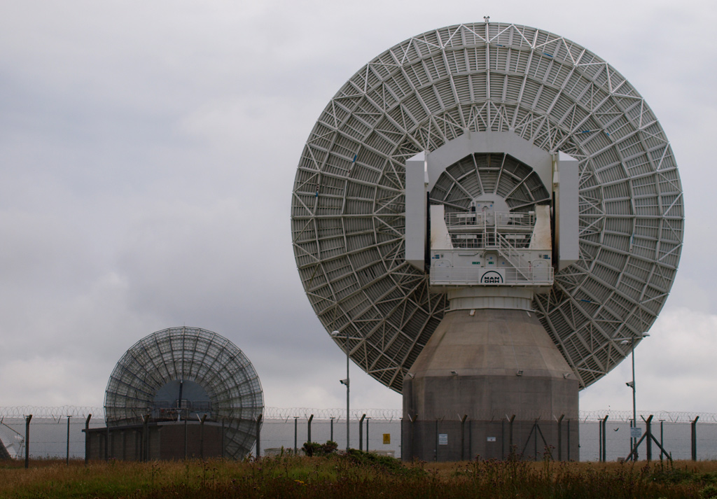 The back of two satellite antennae at GCHQ's surveillance base in Bude, England. (Photo By: Education Images/UIG via Getty Images)