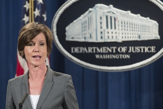 Deputy Attorney General Sally Yates speaks during a press conference to announce environmental and consumer relief in the Volkswagen litigation at the Department of Justice in Washington, DC, June 28, 2016.Volkswagen has agreed to pay out $14.7 billion in a settlement with US authorities and car owners over its emissions-cheating diesel-powered cars, court documents showed June 28, 2016.The settlement filed in federal court calls for the German auto giant to either buy back or fix the cars that tricked pollution tests, and to pay each owner up to $10,000 in cash. / AFP / SAUL LOEB (Photo credit should read SAUL LOEB/AFP/Getty Images)