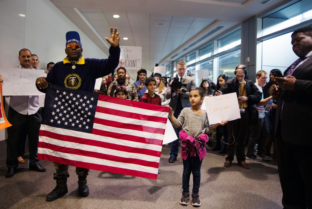 Protesters rally at Birmingham-ShuttlesworthInternational Airport on January 29, 2017. Photo: Courtesy Ann Sydney Taylor