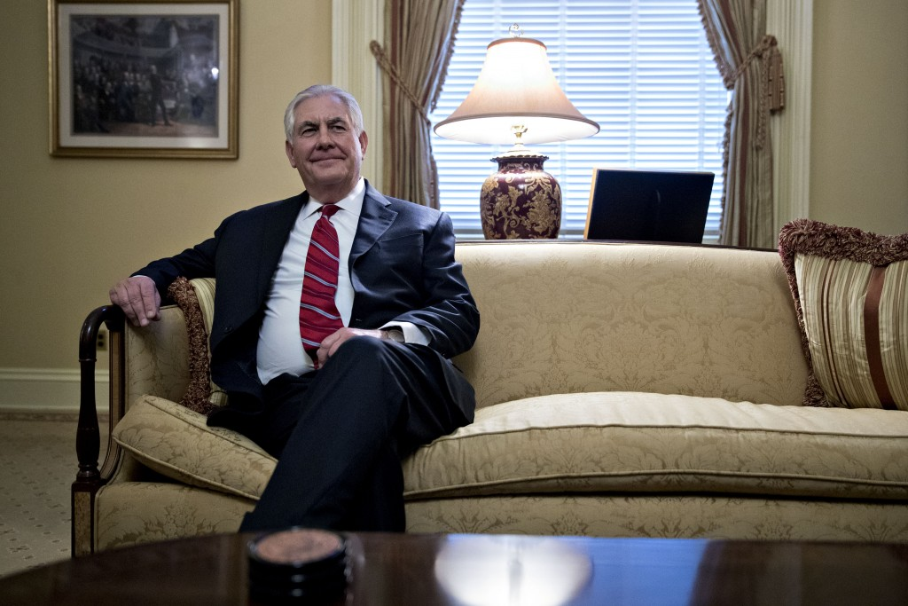 Rex Tillerson, former chief executive officer of Exxon Mobile Corp. and U.S. secretary of state nominee for president-elect Donald Trump, sits during a meeting with Senate Majority Leader Mitch McConnell, a Republican from Kentucky, not pictured, on Capitol Hill in Washington, D.C., U.S., on Wednesday, Jan. 4, 2017. Tillerson will relinquish control of about $240 million in company shares if confirmed as he severs ties to comply with conflict-of-interest requirements. Photographer: Andrew Harrer/Bloomberg via Getty Images