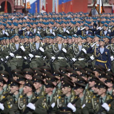 Russian soldiers march along Red Square during a Victory Day parade May 9, 2013