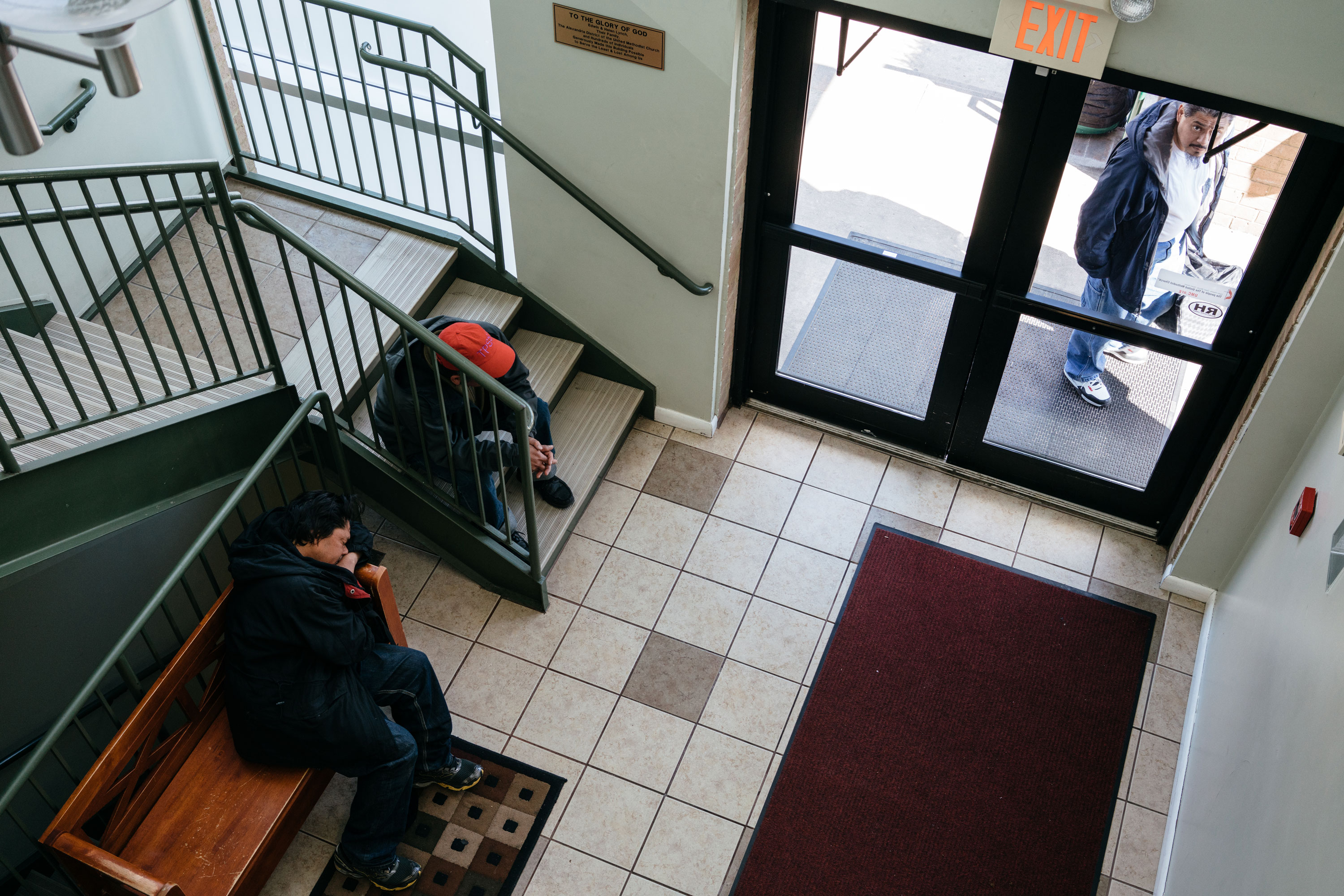 Members of the community gather for a soup kitchen at Rising Hope Mission Church in Alexandria, Va. on Feb. 26, 2017. Recently, six men leaving the shelter at the church were stopped by ICE and handcuffed and taken away.