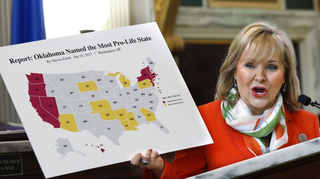 Oklahoma Gov. Mary Fallin shows the large crowd a map of the United States in which Oklahoma is declared the most anti-abortion state during her speech to  anti-abortion Oklahomans during Red Rose Day events, Wednesday, Feb. 8, 2017, at the state Capitol. ( Jim Beckel/The Oklahoman via AP)