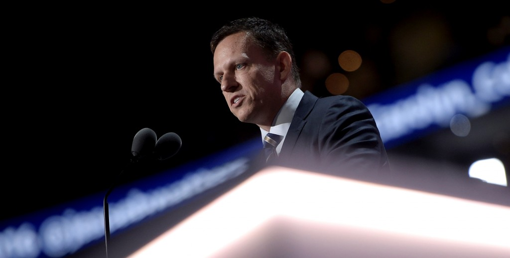 PayPal co-founder Peter Thiel speaks during the Republican National Convention at the Quicken Loans Arena in Cleveland, Ohio on July 21, 2016. / AFP / Brendan Smialowski        (Photo credit should read BRENDAN SMIALOWSKI/AFP/Getty Images)