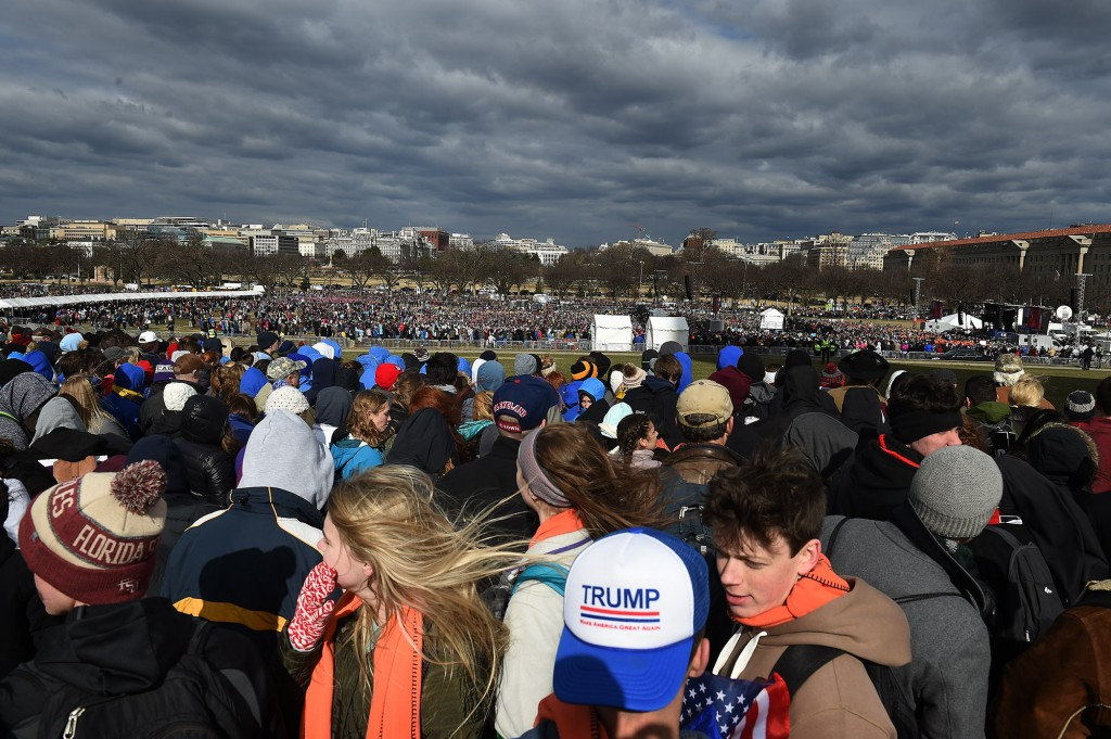 WASHINGTON, DC - JANUARY 27: Participants in The March for Life 2017 gather around the Washington Monument in Washington, D.C., January 27, 2017, before marching to the US Supreme Court. The march is in support of the nation wide anti abortion movement. (Photo by Astrid Riecken For The Boston Globe)