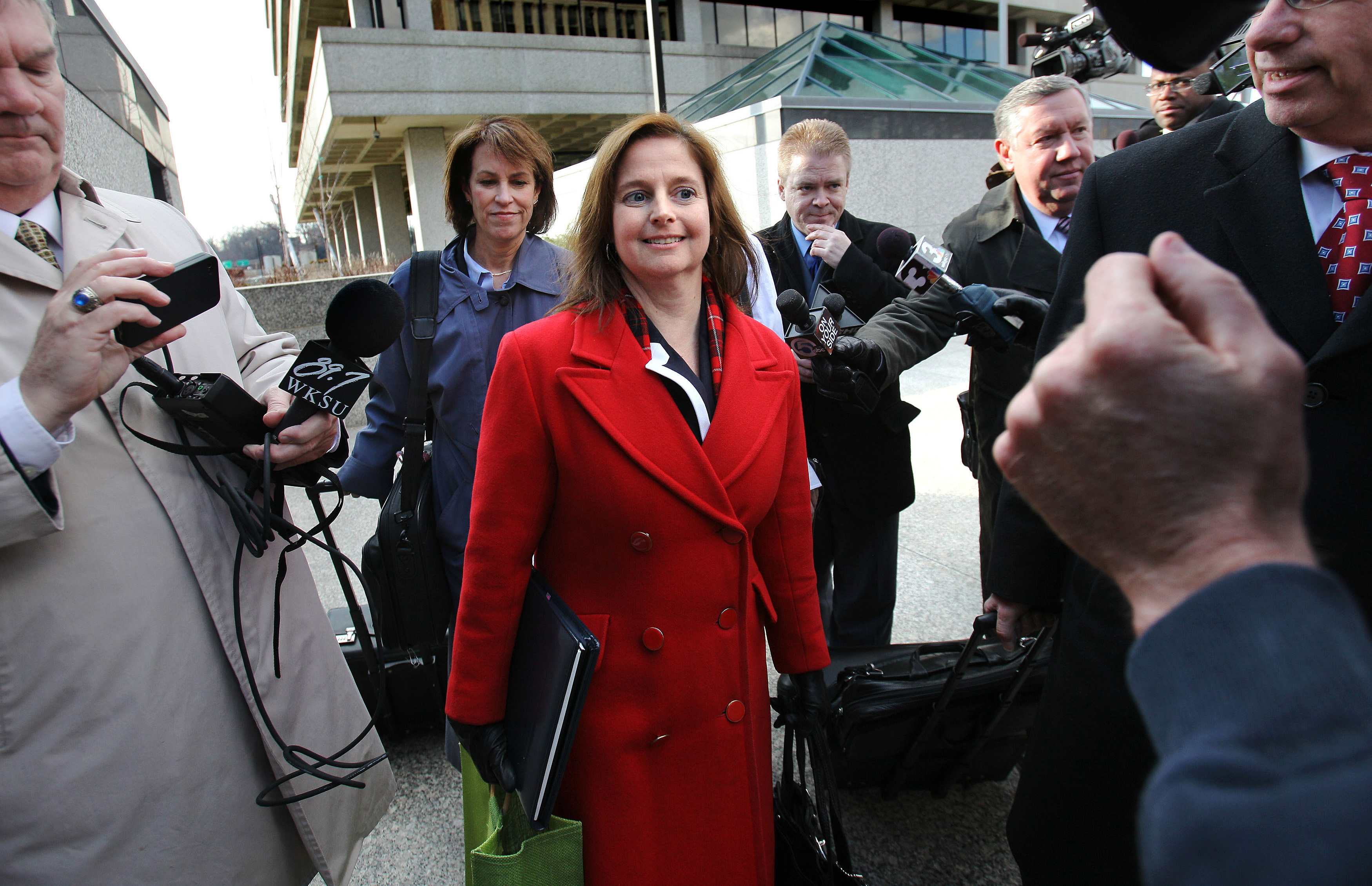 Former Cuyahoga County Common Pleas Judge Bridget McCafferty walks out of the federal courthouse in Akron after she was found guilty Friday afternoon of 10 counts of lying to FBI agents on Friday, March 25, 2011. (Lisa DeJong/The Plain Dealer)