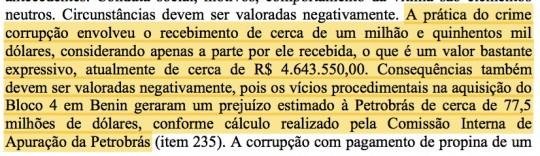 Trecho da sentença de condenação de Eduardo Cunha.