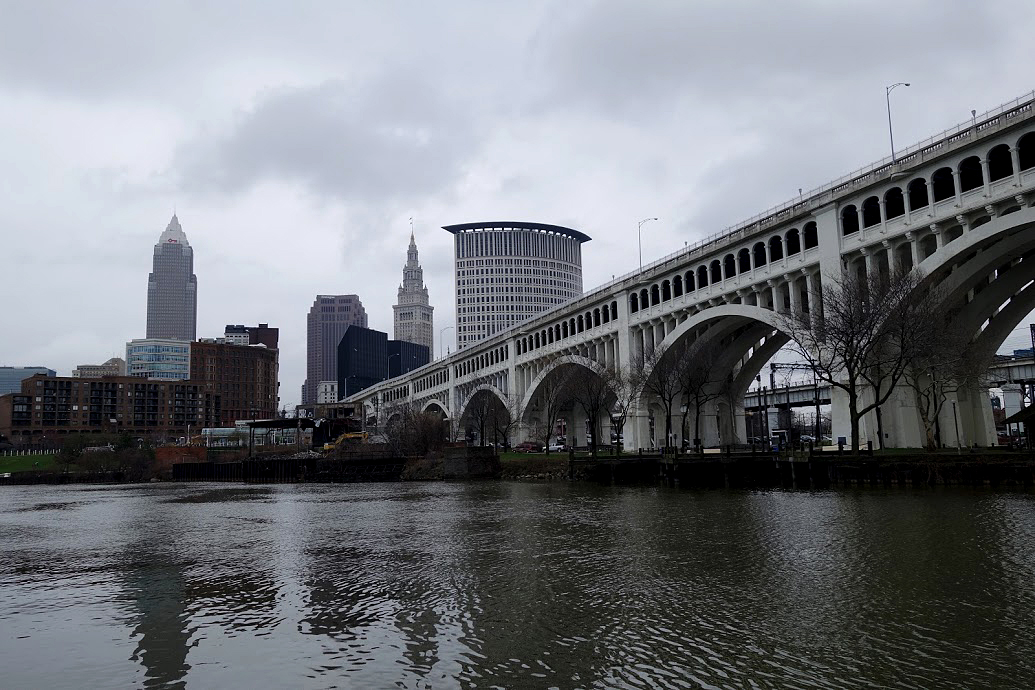 The Cleveland skyline, viewed from across from the Cuyahoga River in Cleveland on April 7, 2016. / AFP / William Edwards/AFP/Getty Images