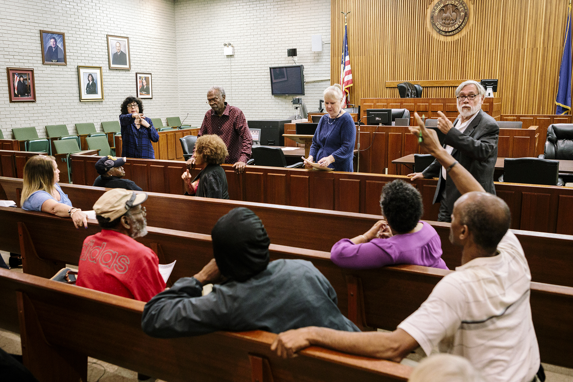 Edgard, LA - Feb. 20, 2017 - Community members and the Concerned Citizens of St. John Parish discuss concerns during a meeting held at the St. John Parish Clerk of Court.