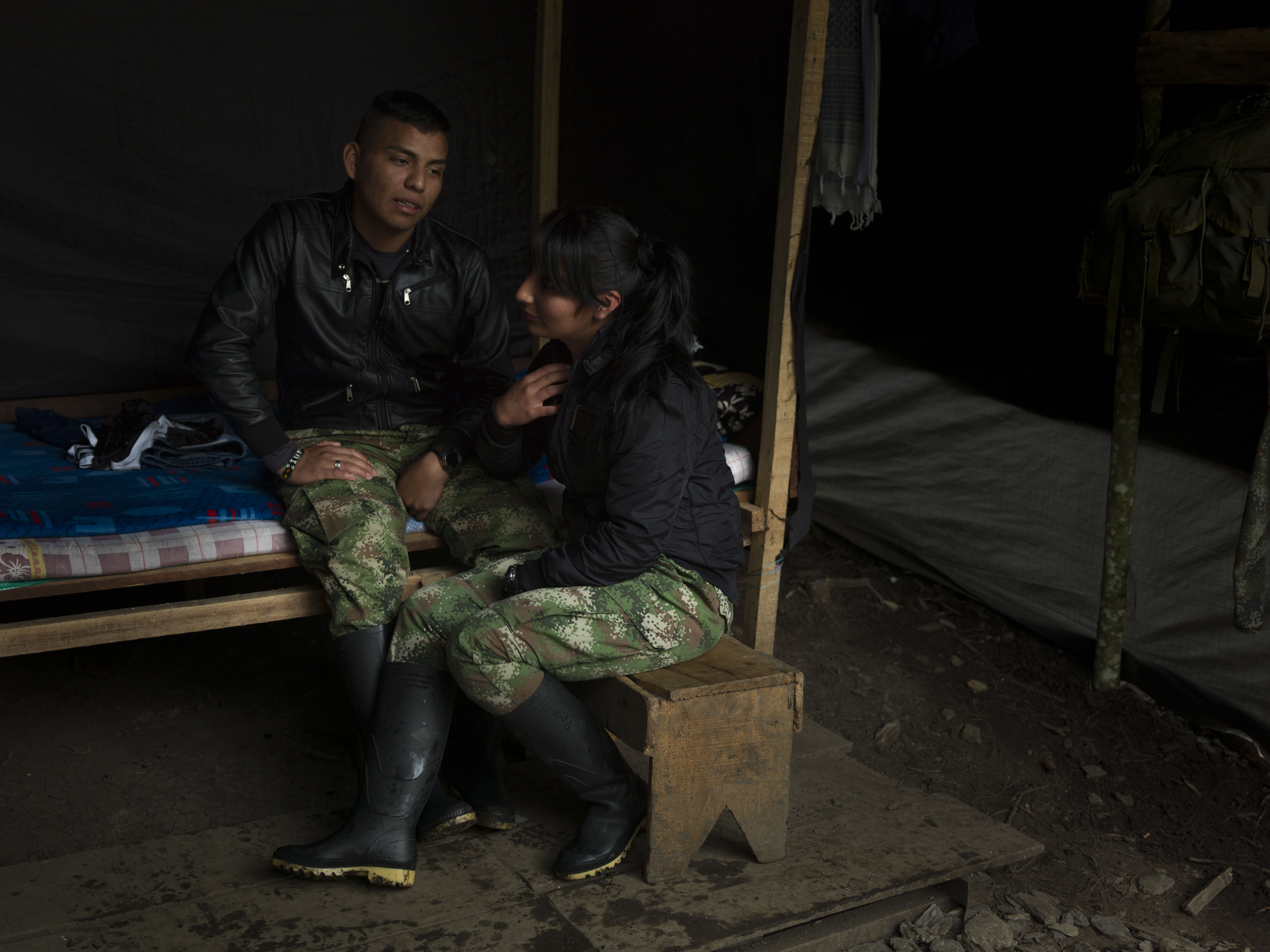 COLOMBIA. 2017. A guerrilla couple in a tent.