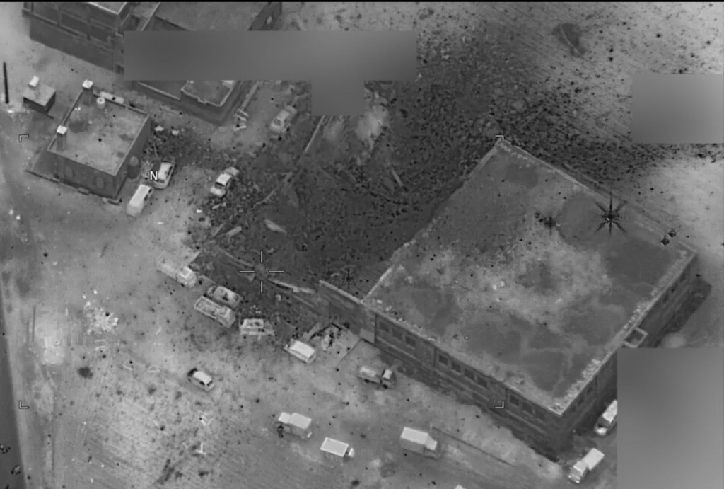 This image provided by the U.S. NavyDirector of Defense Press Operations purports to show the post-strike view of the site of an al Qaeda senior leader meeting in al-Jinah, Syria, that was struck March 16.