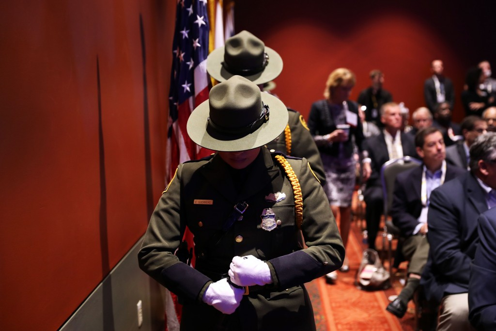 SAN ANTONIO, TX - APRIL 12:  A U.S. Border Patrol honor guard attends a ceremony for fallen agents at the Border Security Expo on April 12, 2017 at the Henry B. Gonzalez Convention Center in San Antonio, Texas. The Department of Homeland security has been tasked with hiring 5,000 new Border Patrol Agents and 10,000 new agents for Immigration and Customs Enforcement (ICE) as part of the Trump Administration's push to increase border security and inforce U.S. immigration law. The annual expo brings together government officials and private sector firms promoting new technology, most of it for sale to the federal government.  (Photo by John Moore/Getty Images)