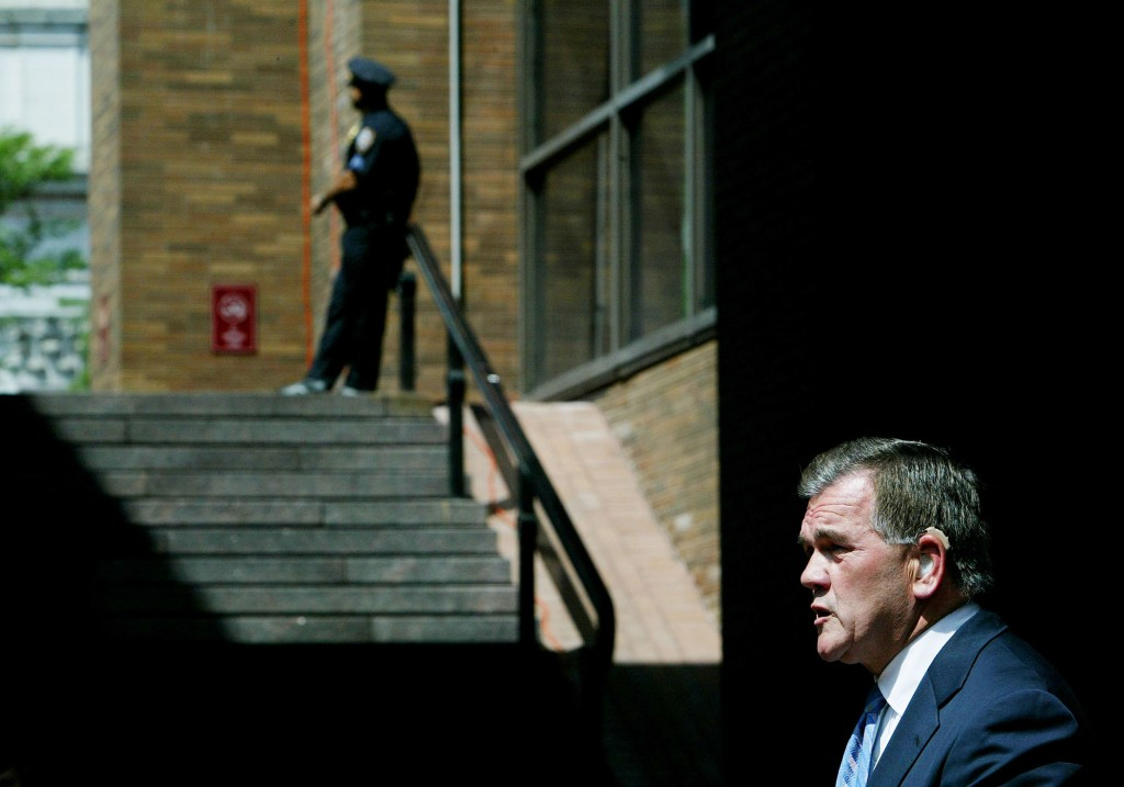 NEW YORK - AUGUST 25:  Department of Homeland Security Secretary Tom Ridge speaks at a press conference August 25, 2004 in New York City. Ridge was in New York surveying security preparations for next week's Republican National Convention in Manhattan.  (Photo by Chris Hondros/Getty Images)