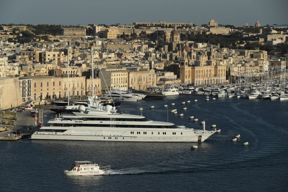 VITTORIOSA, MALTA - MARCH 30:  A superyacht, the Indian Empress, owned by Vijay Mallya, stands in The Grand Harbour as seen from Valletta on March 29, 2017 in Vittoriosa, Malta. In the last 2,000 years Malta has been under Roman, Muslim, Norman, Knights of Malta, French and British rule before it became independent in 1964. Today Malta remains a crossroads of cultures and is a popular tourist destination.  (Photo by Sean Gallup/Getty Images)