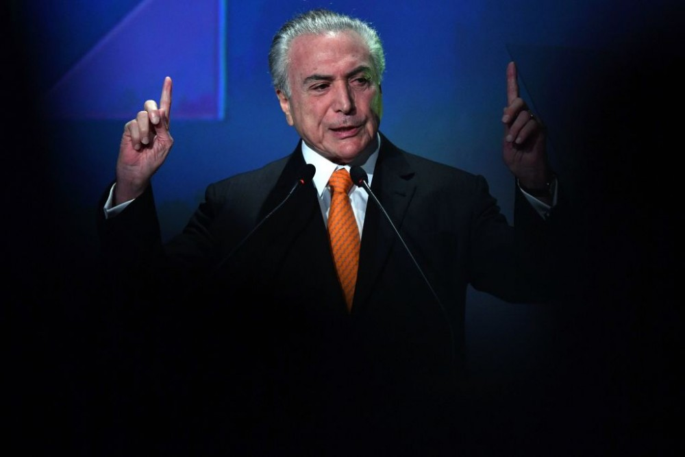 Brazilian President Michel Temer speaks during an Investment Forum in Sao Paulo, Brazil on May 30, 2017. / AFP PHOTO / NELSON ALMEIDA        (Photo credit should read NELSON ALMEIDA/AFP/Getty Images)