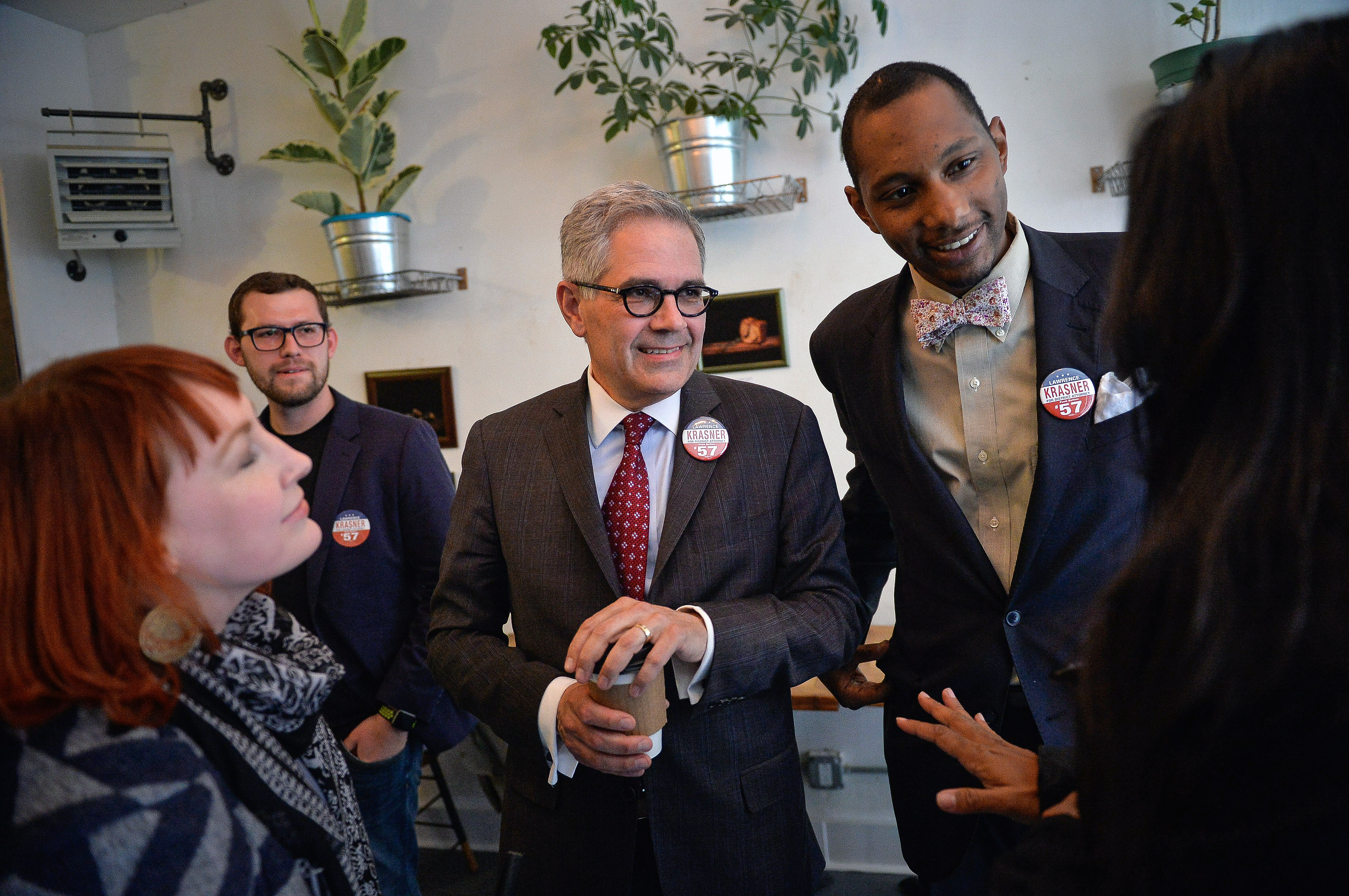 Philadelphia District Attorney candidate Lawrence Krasner speaks with volunteers and supporters during a volunteer thank you event in Philadelphia, PA, Thursday, May 11, 2017. Charles Mostoller for the Intercept