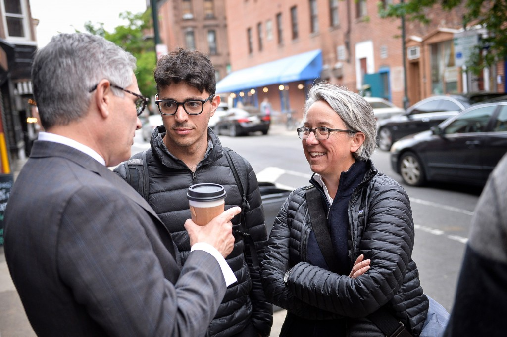 Philadelphia District Attorney candidate Lawrence Krasner speaks with Bernie Sanders supporter Becky Bond during a volunteer thank you event in Philadelphia, PA, Thursday, May 11, 2017.Charles Mostoller for the Intercept