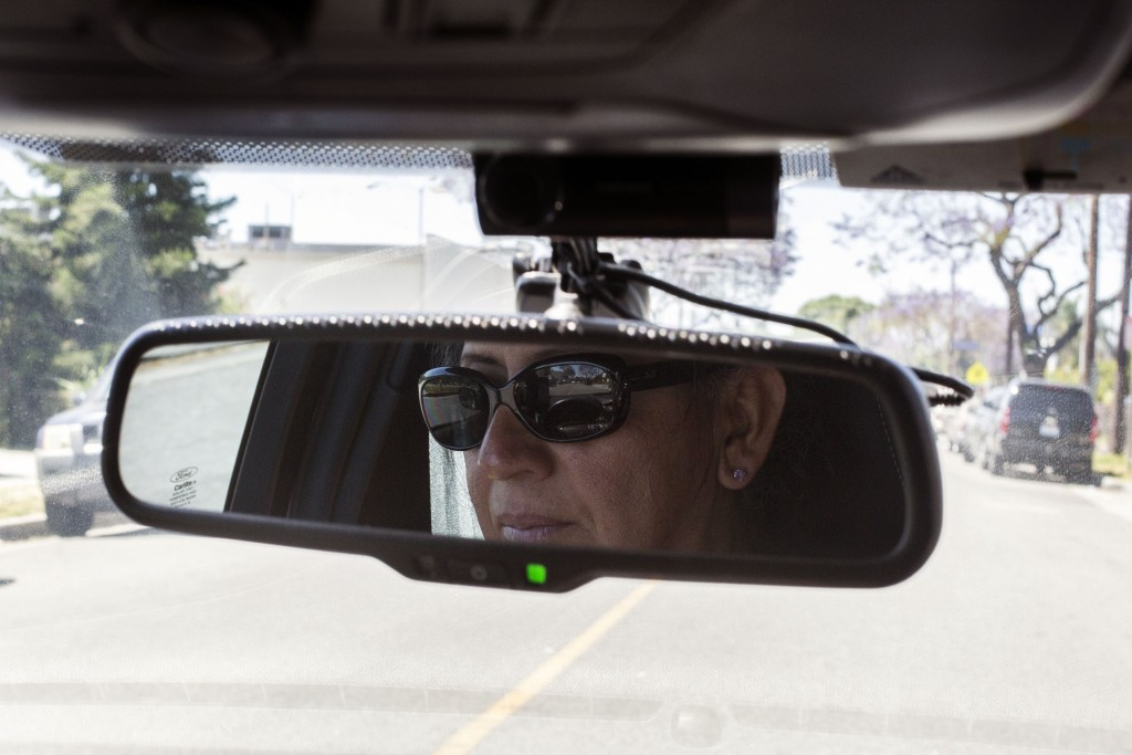 Former Uber driver, Rachel Galindo takes a spin around her neighborhood in the car she often used for work with the company on April 30, 2017, in Los Angeles, California. As a transgender person, Galindo says she faced a lot of discrimination while driving for Uber.