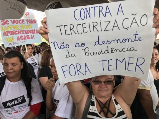 31/03/2017- São Paulo- SP, Brasil- Ato contra a reforma da previdência na avenida Paulista. Fotografia: Roberto Parizotti/CUT