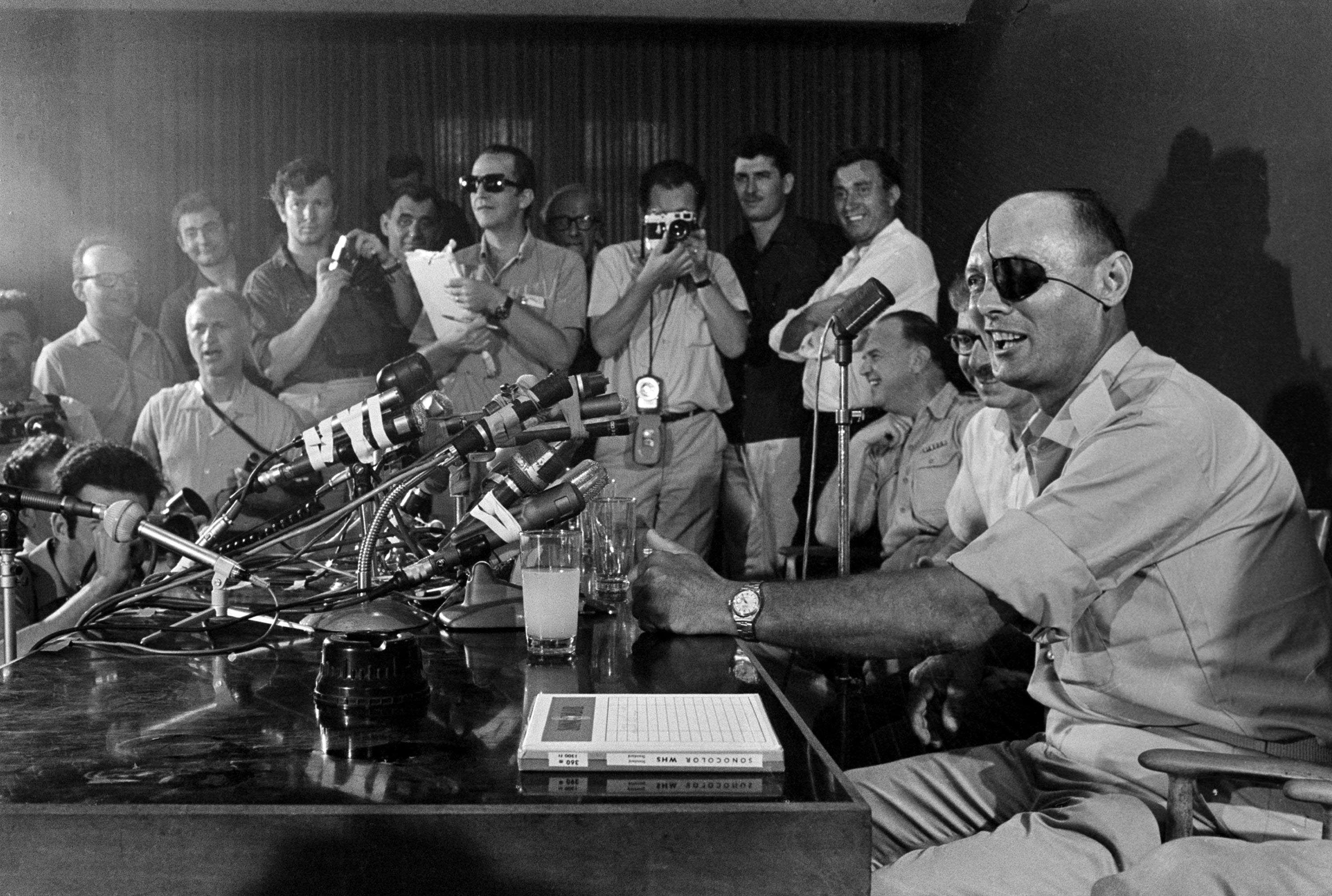 Gen. Moshe Dayan talks to newsmen in Tel Aviv as he holds his first press conference, June 3, 1967, after taking the post of Minister of Defense.  (AP Photo)