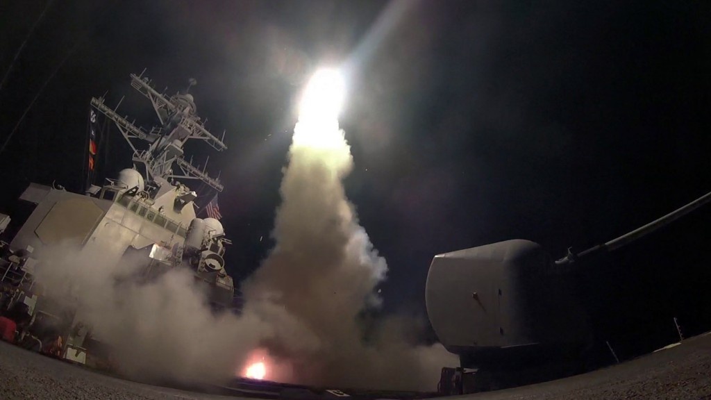 FILE - In this Friday, April 7, 2017 file image provided by the U.S. Navy, the guided-missile destroyer USS Porter (DDG 78) launches a tomahawk land attack missile in the Mediterranean Sea as the United States blasted a Syrian air base with a barrage of cruise missiles in fiery retaliation for a gruesome chemical weapons attack against civilians earlier in the week. North Korea has vowed to bolster its defenses to protect itself against airstrikes like the ones President Donald Trump ordered against an air base in Syria. The North called the airstrikes