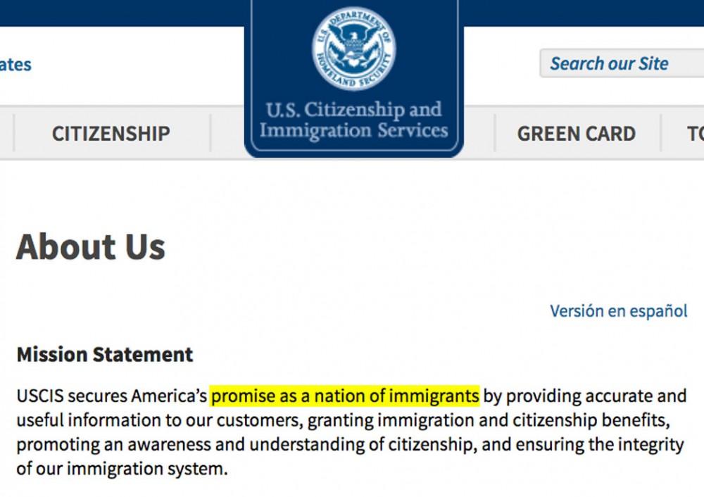"""Departamento De Cidadania E Imigração Dos EUA Vai Abolir O Termo """"nação De Imigrantes"""" De Sua Missão"""