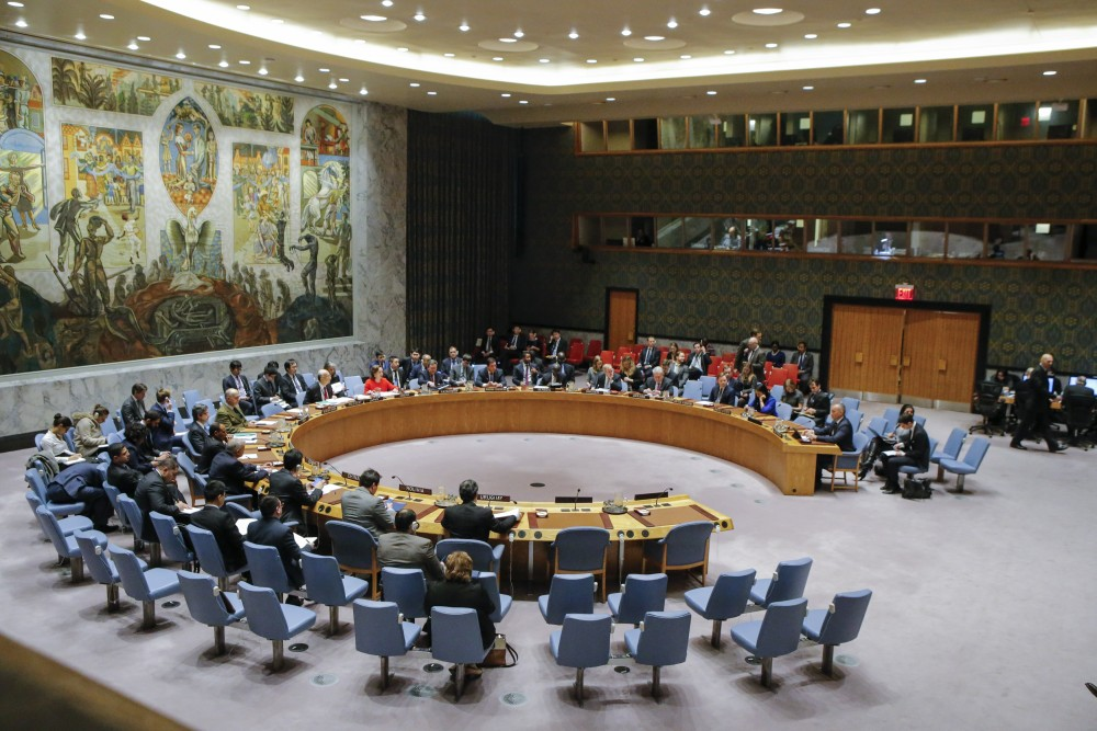 General view of the UN Security Council room during a meeting over the situation in the Middle East on December 18, 2017, at UN Headquarters in New York. The UN Security Council is to vote on a draft resolution rejecting US President Donald Trump's recognition of Jerusalem as the capital of Israel. / AFP PHOTO / KENA BETANCUR (Photo credit should read KENA BETANCUR/AFP/Getty Images)