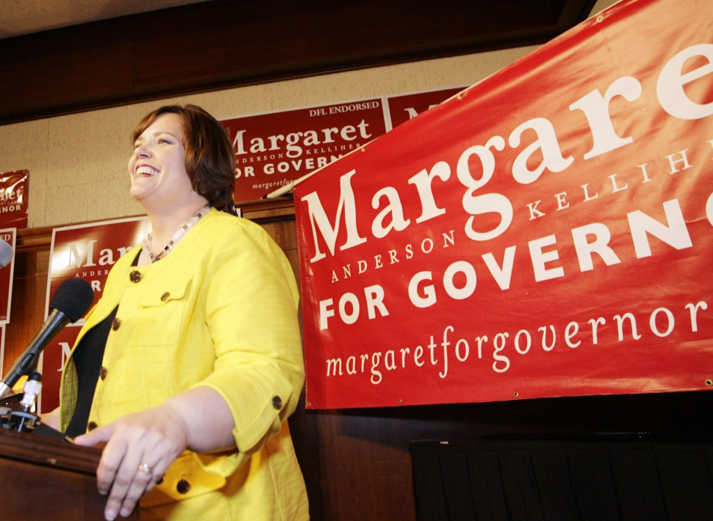 Democratic Farm Labor-endorsed gubernatorial candidate Margaret Anderson Kelliher addresses supporters as they waits primary results at Jax Cafe in Minneapolis early Wednesday, Aug. 11, 2010.(AP Photo/Andy King)