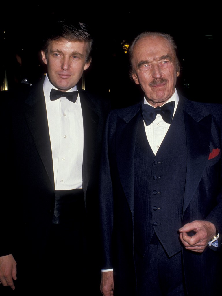 """NEW YORK CITY - DECEMBER 12:  Donald Trump and Fred Trump attend """"The Art of the Deal"""" Book Party on December 12, 1987 at Trump Tower in New York City. (Photo by Ron Galella/WireImage)"""